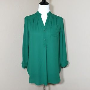 Stitch Fix 41 Hawthorn Green Long Sleeve Blouse S